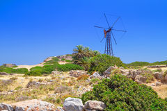 Scenery of Crete with windmill Royalty Free Stock Photo