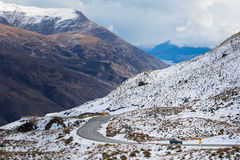 Scenery of crown range road  wanaka to queentown southa island n Royalty Free Stock Photography