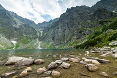 Scenery of Czarnyw Staw in the Tatra Mountains. The scenery of and around lake Czarnyw staw which is located next to Morskie Oko royalty free stock photos