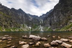 Scenery of Czarnyw Staw in the Tatra Mountains. The scenery of and around lake Czarnyw staw which is located next to Morskie Oko royalty free stock image