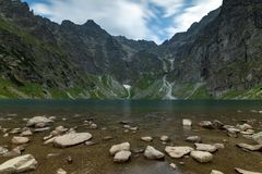 Scenery of Czarnyw Staw in the Tatra Mountains. The scenery of and around lake Czarnyw staw which is located next to Morskie Oko stock photography