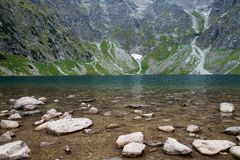 Scenery of Czarnyw Staw in the Tatra Mountains. The scenery of and around lake Czarnyw staw which is located next to Morskie Oko royalty free stock images