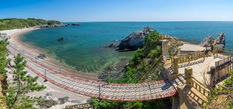 The scenery of Dalian Golden Stone National Geopark and Coastal Road in late Summer stock photo