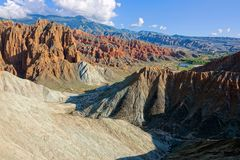 Danxia landform. The scenery of Danxia landform of Guide National Geopark in Qinghai, China royalty free stock photography