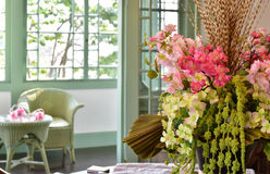 Scenery of the decoration of the flower in the room. Scenery of colorful flower decorations in the room Stock Photos