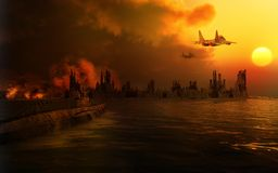 Scenery of the destroyed city. Apocalyptic scene with city ruins and jet fighters Royalty Free Stock Images