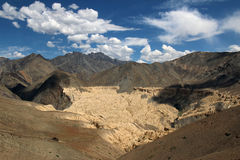scenery of dry mountain in indian himalayas Stock Photo