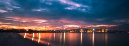 Scenery dusk on a beautiful harbor. Royalty Free Stock Photos