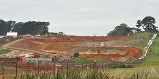Scenery earthworks for freeway in Australia Stock Images