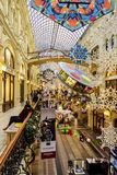 Scenery of the festive interior of the state universal store GUM for Christmas and New 2019. Red Square, Building 3. Moscow. Moscow, Russia. Scenery of the royalty free stock images