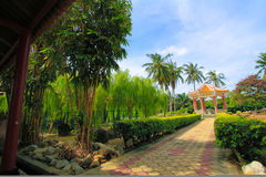 Scenery  garden. Beautiful  scenery  and   a  rest  house   at  the  park Royalty Free Stock Photos