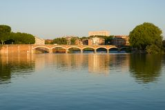 Scenery of Garonne river and Pont(bridge) de Halag Stock Photos