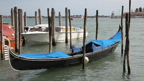 Scenery with Gondolas in Venice stock video footage