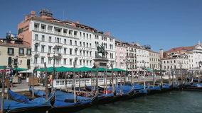 Scenery with Gondolas in Venice stock video
