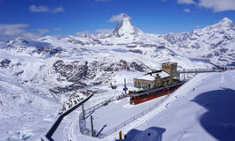 Scenery of Gornergrat train station with Matterhorn peak in the Stock Image