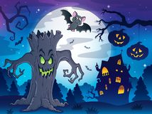 Scenery with Halloween thematics 2. Eps10 vector illustration Stock Photo