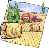 Scenery with hay bales and a tractor. An autumn farm landscape. Bales of hay and a tractor. Watercolor and ink illustration drawing by myself Royalty Free Stock Photos