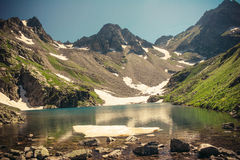 Scenery of high mountain with lake and high peak. Royalty Free Stock Image