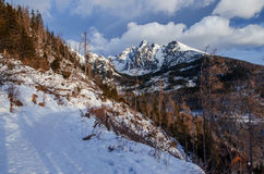 Scenery of high mountains wiht snow and cloud atmosphere Stock Image