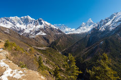 Scenery in the Himalayas on the way to Everest Base Camp Stock Photography