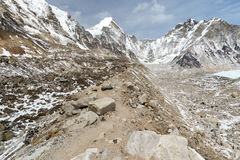 Scenery in the Himalayas on the way to Everest Base Camp Royalty Free Stock Photography
