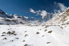 Scenery in the Himalayas on the way to Everest Base Camp Stock Images