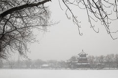 Scenery in houhai after snow Stock Photography