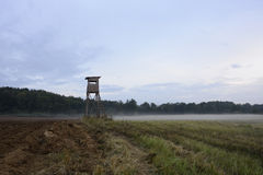 Scenery with hunt tower. Rural landscape with hunting observation point in Poland Stock Images