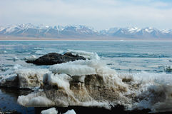 Scenery of ice lake and snow mountains Royalty Free Stock Photo