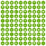 100 scenery icons hexagon green. 100 scenery icons set in green hexagon isolated vector illustration Stock Photography