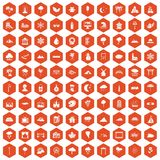 100 scenery icons hexagon orange. 100 scenery icons set in orange hexagon isolated vector illustration vector illustration