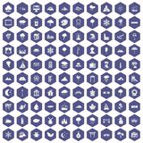 100 scenery icons hexagon purple. 100 scenery icons set in purple hexagon isolated vector illustration vector illustration