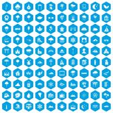 100 scenery icons set blue. 100 scenery icons set in blue hexagon isolated vector illustration Stock Image