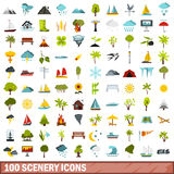 100 scenery icons set, flat style. 100 scenery icons set in flat style for any design vector illustration vector illustration