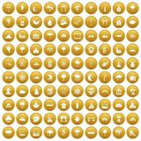100 scenery icons set gold. 100 scenery icons set in gold circle isolated on white vectr illustration Stock Photography