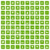 100 scenery icons set grunge green. 100 scenery icons set in grunge style green color isolated on white background vector illustration Royalty Free Stock Photo