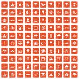 100 scenery icons set grunge orange. 100 scenery icons set in grunge style orange color isolated on white background vector illustration Stock Photo