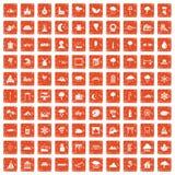 100 scenery icons set grunge orange. 100 scenery icons set in grunge style orange color isolated on white background vector illustration Stock Photo