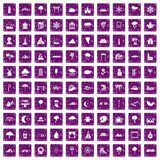 100 scenery icons set grunge purple. 100 scenery icons set in grunge style purple color isolated on white background vector illustration Royalty Free Stock Image