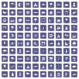 100 scenery icons set grunge sapphire. 100 scenery icons set in grunge style sapphire color isolated on white background vector illustration Stock Image