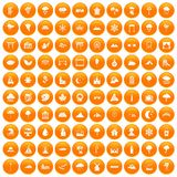 100 scenery icons set orange. 100 scenery icons set in orange circle isolated vector illustration Royalty Free Stock Image