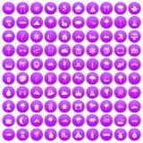 100 scenery icons set purple. 100 scenery icons set in purple circle isolated vector illustration stock illustration