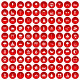 100 scenery icons set red. 100 scenery icons set in red circle isolated on white vectr illustration Stock Photography