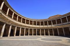 Scenery inside the Palace of Charles V in La Alhambra. Granada, Spain Royalty Free Stock Image