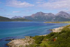 Scenery on island of Senja. Picturesque scenery on island of Senja above polar circle in Norway Royalty Free Stock Photo