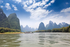 Scenery of karst mountain in lijiang river Royalty Free Stock Photos