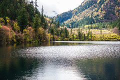 Scenery Of Lake in Forest with Colorful Leafs and Mountain in Autumn Stock Photography