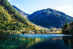 Scenery Of Lake in Forest with Colorful Leafs and Mountain in Autumn Stock Photo