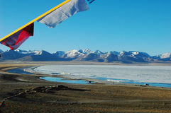 Scenery of lake and mountains with prayer flags Royalty Free Stock Photo