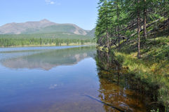 Scenery of the lake and reflections of the mountains Royalty Free Stock Image
